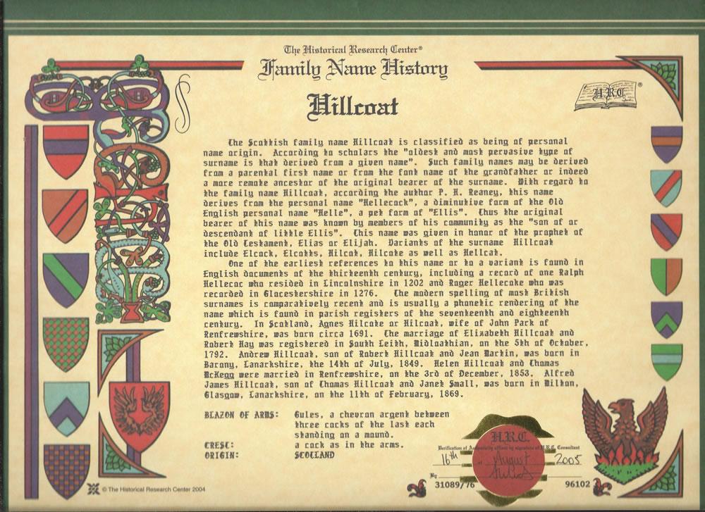 Historia del Nombre Hillcoat
